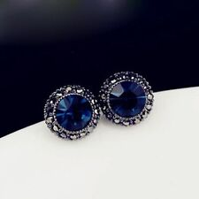 ❤️Earrings 9ct W Gold Over Marcasite Antique❤️ Studs Sapphire Silver 9 mm Gift❤️