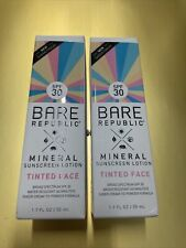 2X Bare Republic Mineral Sunscreen Lotion Tinted Face SPF 30 1.7 oz/50 ml Each