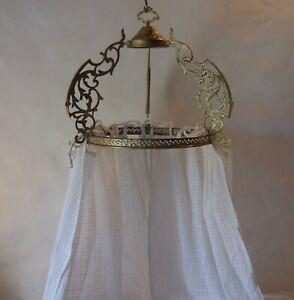Antique French gilt bronze ciel de lit, bed canopy, couronne, crown, pediment.