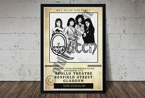 Queen Vintage Concert Poster Apollo Theatre Glasgow 1975 A3 Size Repro.