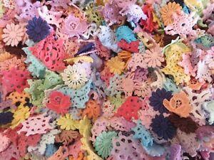 100pc Rainbow coloured  tiny  mini cotton crochet medallions doilies and flower