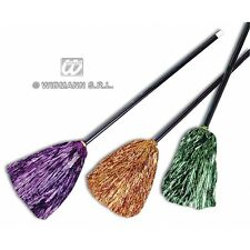 WITCH BROOM METALLIC 92cm 1 of 3 colours Accessory for Halloween Oz Eastwick Fan