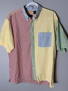 Izod Men's Large Multicolor Short Sleeve Collared Button Up Shirt Vintage