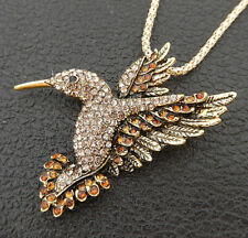 Betsey Johnson Brown Crystal Hummingbird Bird Pendant Long Necklace/Brooch