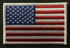 AMERICAN FLAG EMBROIDERED PATCH WHITE BORDER USA US United States FLAG PATCH
