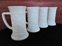 Tiara Indiana Milk Glass 4 Opaque White German 12 oz Beer Steins Mugs Tankards