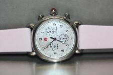 """Michele """"CSX"""" Stainless Steel Chronograph MOP Dial Watch W/ Pink strap"""