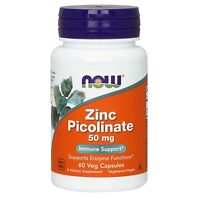 NOW Foods Zinc Picolinate, 50 mg, 60 Veg Capsules