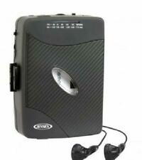 Jensen AM FM Black Cassette Player Line Out Play Fast Forward Stop and Earbuds