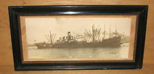 Original 1940's Panoramic Photo West Tacook Steam Cargo Freight Ship Boat