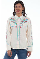 Scully Women's Embroidered Long Sleeve Western Shirt PL-878