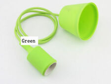 Green Color 1M DIY Silicone Ceiling Braided Cord Pendant Lamp Holder For E27