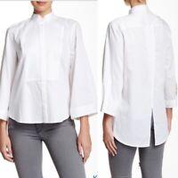 BCBG MAX AZRIA JOANNE Kimono Top Tuxedo Shirt White Career Womens Size M $178