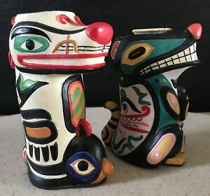 Pacific Northwest native art set of 2 hand painted & carved candle holders 4-5""