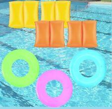 Children Armbands & Swim Ring Set Kids Rubber Ring Bright Coloured Armband Set