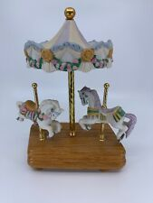 "Willitts 10"" Vintage East Side West Side Carousel Porcelain Horses Music Box"