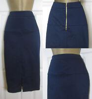 NEW M&S Ladies Cotton Rich Midi Pencil Skirt Front Split Smart Navy Blue 8-22