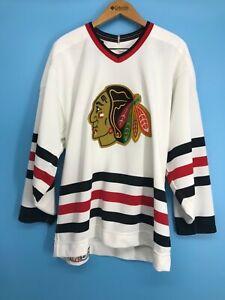 CCM Chicago Blackhawks Men's White Long Sleeve Jersey Size: 48
