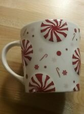 New 2007 STARBUCKS Peppermint Candy Cane tea coffee cup mug red white winter