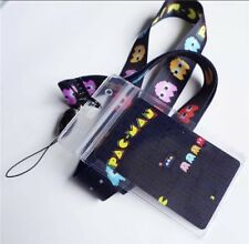 New! Pac Man Ghost Black Lanyard KeyChain + Card Id Holder Pac-Man Pacman