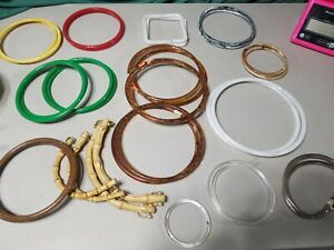 "Pair of VTG 5/"" Round Brown Marbella Plastic Lucite Craft Handbag Purse Handles"