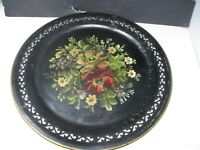 "ANTIQUE Hand painted Floral TIN TOLEWARE Large 19 1/4"" Round Serving Tray"