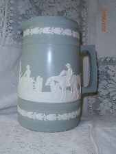 "Antique Vintage Copeland Jasperware Pitcher Jug Fox Hunt Sage Green 7"" Horses"