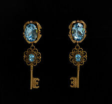 DOLCE & GABBANA JEWELLERY VINTAGE GOLD BRASS BLUE CRYSTAL KEYS EARRINGS  CLIPS