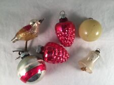 Lot of 6 Vintage Glass Christmas Ornaments - Bell, Bird, Balls, Grapes