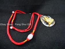 Chinese Kwan Guan Yin Buddha Gold Clear Bead Jade String Necklace Pendant NEW
