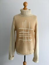 BURBERRY cream / sand beige print polo neck jumper - Large