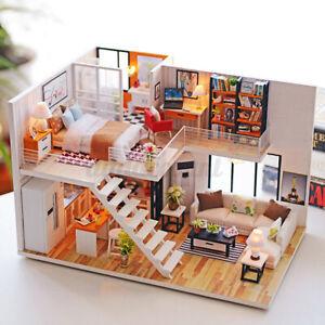 DIY Wooden Dollhouse Apartments Miniature Furniture Kit Doll House w/ LED Light