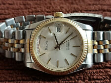 VINTAGE BULOVA PRESIDENTIAL AUTOMATIC MENS WATCH ALL STEEL TWO TONE