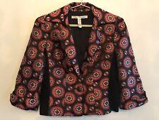 DIANE VON FURSTENBERG BLAZER BLACK RED SILK Size 10