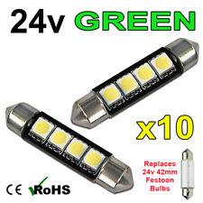 10 x Green 24v 42mm Festoon Interior Plate Light 264 4 SMD Bulbs HGV Truck