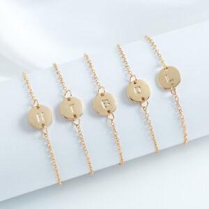 Gold Women Alphabet Letter Initial Friendship Bridesmaid Gift Chain Bracelet UK