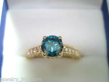 1.15 Carat Fancy Enhanced Blue Diamond Engagement Ring 14K Yellow Gold