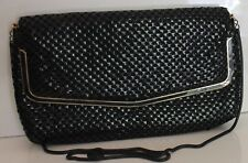 Black Mesh Hand Bag Gold Metal Frame Snake Chain Shoulder Strap Lifinia Vintage