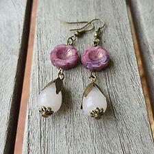 Rose quartz, Pink Hawaiian flower Czech glass teardrop romantic dangle earrings