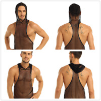 Men See-through Hooded Tank Top Muscle T Shirt Vest Clubwear Singlet Undershirt