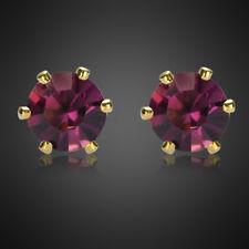Riva Sale! Lady Purple Amethyst Yellow Gold Plated Earrings Stud Earings