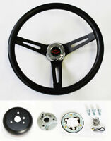 Chevelle Nova Camaro Impala Black on Black Steering Wheel Black/Red Cap 13 1/2""