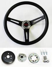 "Chevelle Nova Camaro Impala Black on Black Steering Wheel Black/Red Cap 13 1/2"""
