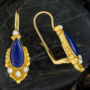 Tears of Niobe Lapis and Pearl Earrings: Museum of Jewelry