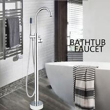 US Bathroom Freestanding Bath Tub Filler Floor Bathtub Faucet with Hand Shower