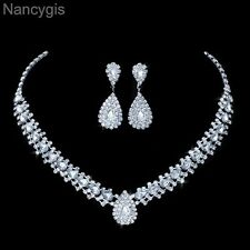 Silver Crystal Teardrop Necklace and Earrings Party Bridal Wedding Jewellery Set