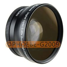 HIGH QUALITY 58mm 0.45x WIDE Angle LENS with Macro LENS Black