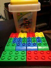 Lego quatro 20 piece large Lego blocks and storage bucket
