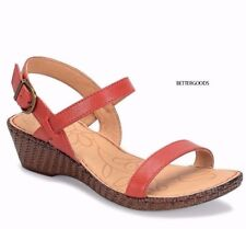 BORN women's ENDRE Leather SANDALS Adjustable Ankle Buckle Strap Red Rose 7 M