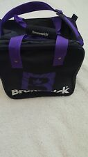Vintage Brunswick Bowling Ball Bag Purple & Black Nylon Carrying Shoulder Strap